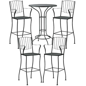 Pictured here is the Aurora 5 pc. Bar Height Set manufactured by Woodard.