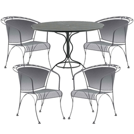 Pictured here is the Briarwood  5 pc. Barrel Dining Set with black wrought iron finish, made in the USA by Woodard.
