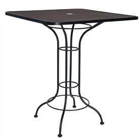 "Pictured is the Mesh Top 36"" Square Bar Height Umbrella Table from Woodard Outdoor Furniture, sold by Timeless Wrought Iron."
