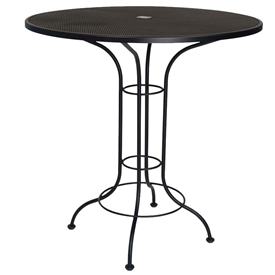"Pictured is the Mesh Top 42"" Round Bar Height Umbrella Table from Woodard Outdoor Furniture, sold by Timeless Wrought Iron."