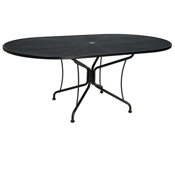 "Pictured is the Mesh Top 42"" x 72"" Oval Umbrella Table -8 Spoke from Woodard Outdoor Furniture, sold by Timeless Wrought Iron."