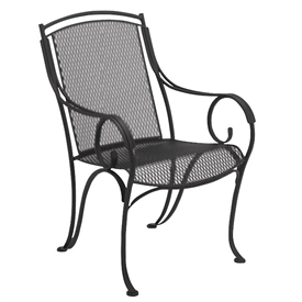 Pictured is the Modesto Dining Arm Chair from Woodard Outdoor Furniture, sold by Timeless Wrought Iron.