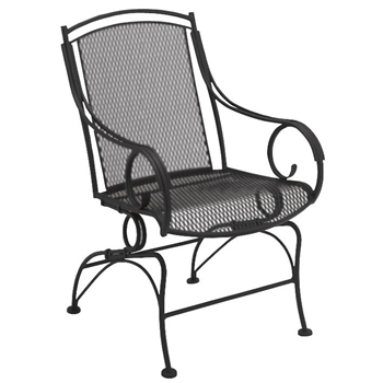 Pictured is the Modesto Coil Spring Dining Chair from Woodard Outdoor Furniture, sold by Timeless Wrought Iron.