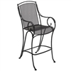 Pictured is the Modesto Stationary Bar Stool from Woodard Outdoor Furniture, sold by Timeless Wrought Iron.