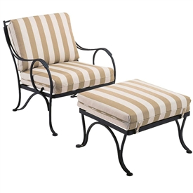 Pictured is the Modesto Ottoman from Woodard Outdoor Furniture, sold by Timeless Wrought Iron.