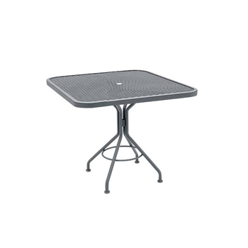 "Pictured is the Micro Mesh 36"" Square Top Bistro Umbrella Table from Woodard Outdoor Furniture, sold by Timeless Wrought Iron."
