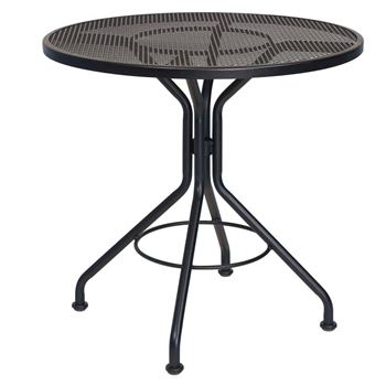 "Pictured is the Micro Mesh 30"" Round Top Bistro Table from Woodard Outdoor Furniture, sold by Timeless Wrought Iron."