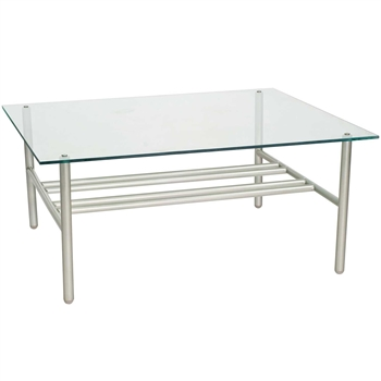 Pictured here is the Uptown Outdoor Coffee Table with Glass Table Top from Woodard.