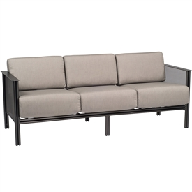 Pictured is the Jax Sofa from Woodard Outdoor Furniture, sold by Timeless Wrought Iron.