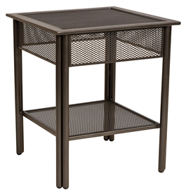 Pictured is the Jax End Table - Micro Mesh from Woodard Outdoor Furniture, sold by Timeless Wrought Iron.