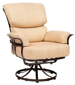 Pictured here is the Atlas Outdoor Swivel Lounge Chair with upholstered all-weather seat cushions from Woodard.