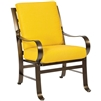Pictured here is the Cascade Outdoor Dining arm Chair with upholstered all-weather seat cushions from Woodard.