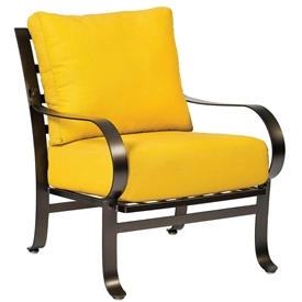 Pictured here is the Cascade Outdoor Lounge Chair with upholstered all-weather seat cushions from Woodard.