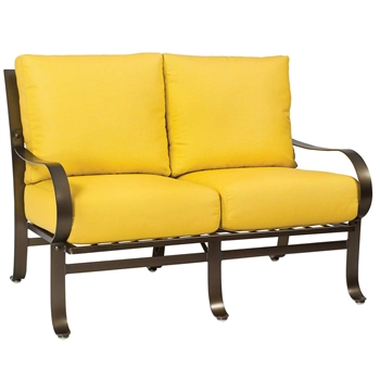Pictured here is the Cascade Outdoor Love Seat with upholstered all-weather seat cushions from Woodard.
