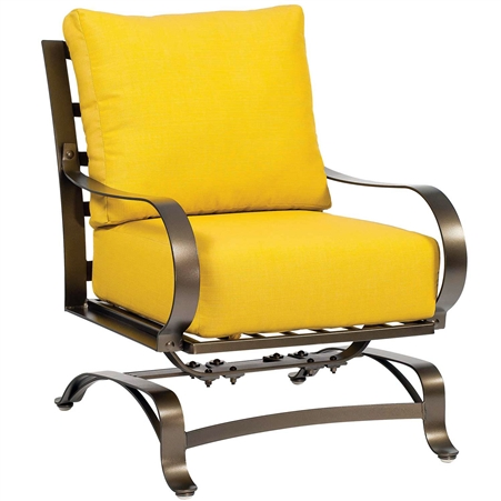 Pictured here is the Cascade Outdoor Spring Lounge Chair with upholstered all-weather seat cushions from Woodard.