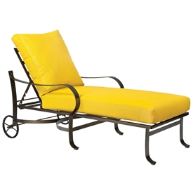 Pictured here is the Cascade Outdoor Adjustable Chaise Lounge with upholstered all-weather seat cushions from Woodard.