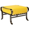 Pictured here is the Cascade Outdoor Ottoman with wrought iron frame and upholstered all-weather cushion from Woodard.