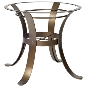 Pictured here is the Cascade Outdoor Dining Table Base with Finish and Table Top Options from Woodard.