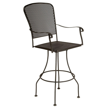 Pictured is the Fullerton Swivel Bar Stool from Woodard Outdoor Furniture, sold by Timeless Wrought Iron.