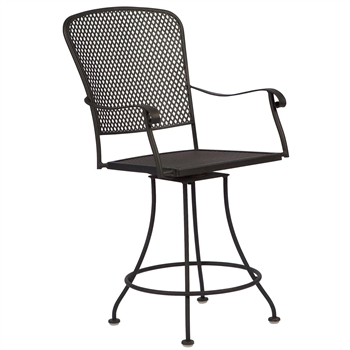 Pictured is the Fullerton Swivel Counter Stool from Woodard Outdoor Furniture, sold by Timeless Wrought Iron.