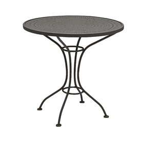 "Pictured is the Parisienne 30"" Round Bistro Table - Pattern Top from Woodard Outdoor Furniture, sold by Timeless Wrought Iron."