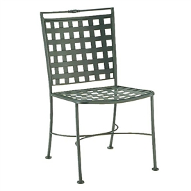Pictured is the Sheffield Dining Side Chair from Woodard Outdoor Furniture, sold by Timeless Wrought Iron.