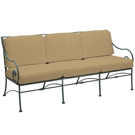Pictured is the Sheffield Sofa from Woodard Outdoor Furniture, sold by Timeless Wrought Iron.
