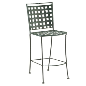 Pictured is the Sheffield Stationary Side Bar Stool from Woodard Outdoor Furniture, sold by Timeless Wrought Iron.