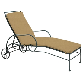 Pictured is the Sheffield Adjustable Chaise Lounge from Woodard Outdoor Furniture, sold by Timeless Wrought Iron.