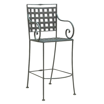 Pictured is the Sheffield Stationary Arm Bar Stool from Woodard Outdoor Furniture, sold by Timeless Wrought Iron.