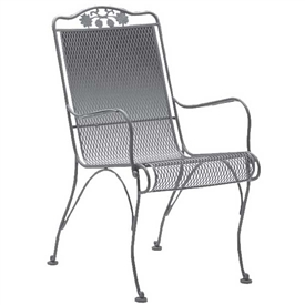 Pictured is the Briarwood High Back Dining Arm Chair from Woodard Outdoor Furniture, sold by Timeless Wrought Iron.