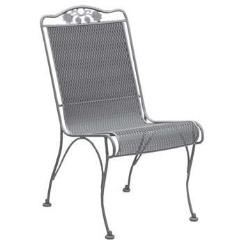Pictured is the Briarwood High Back Dining Side Chair from Woodard Outdoor Furniture, sold by Timeless Wrought Iron.
