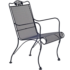 Pictured is the Briarwood High Back Lounge Chair from Woodard Outdoor Furniture, sold by Timeless Wrought Iron.