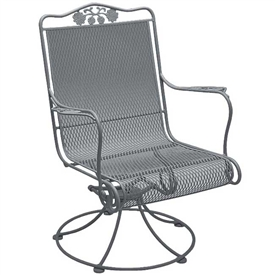 Pictured is the Briarwood High Back Swivel Chair from Woodard Outdoor Furniture, sold by Timeless Wrought Iron.