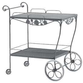 Pictured is the Briarwood Mesh Top Bar Cart from Woodard Outdoor Furniture, sold by Timeless Wrought Iron.
