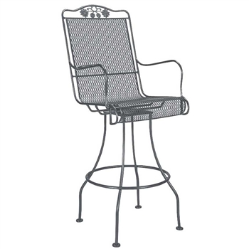 Pictured is the Briarwood Swivel Bar Stool from Woodard Outdoor Furniture, sold by Timeless Wrought Iron.