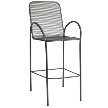 Pictured is the Avalon Micro Mesh Stationary Bar Stool from Woodard Outdoor Furniture, sold by Timeless Wrought Iron.