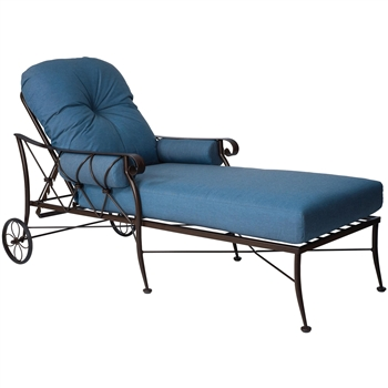 Pictured is the Derby Adjustable Chaise Lounge from Woodard Outdoor Furniture, sold by Timeless Wrought Iron.