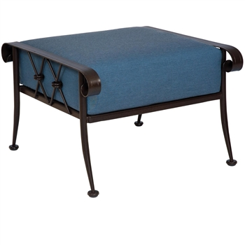 Pictured is the Derby Ottoman from Woodard Outdoor Furniture, sold by Timeless Wrought Iron.