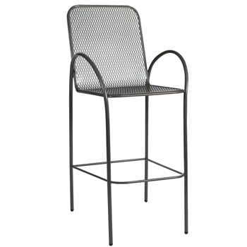Pictured is the Avalon Stationary Bar Stool from Woodard Outdoor Furniture, sold by Timeless Wrought Iron.