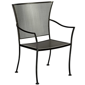 Amelie Dining Arm Chair is hand forged by Woodard and sold by Timeless Wrought Iron. Features 28, 100% waterproof Sunbrella Rain fabric options.