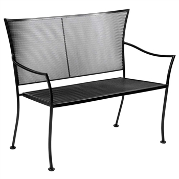 Pictured is the Amelie Stackable Bench from Woodard Outdoor Furniture, sold by Timeless Wrought Iron.