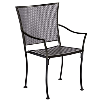 Pictured is the Amelie Bistro Stackable Arm Chair from Woodard Outdoor Furniture, sold by Timeless Wrought Iron.