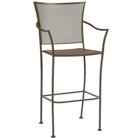 Pictured is the Amelie Stationary Bar Stool from Woodard Outdoor Furniture, sold by Timeless Wrought Iron.