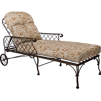 Pictured here is the Brayden Adjustable Wrought Iron Chaise Lounge for your patio or outdoor living area from Woodard.