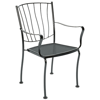 Pictured is the Aurora Dining Stackable Arm Chair from Woodard Outdoor Furniture, sold by Timeless Wrought Iron.