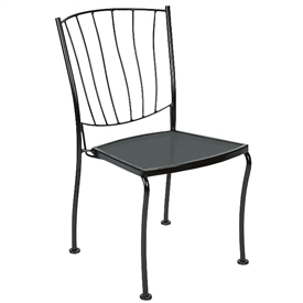 Pictured is the Aurora Dining Stackable Side Chair from Woodard Outdoor Furniture, sold by Timeless Wrought Iron.