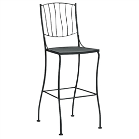 Pictured is the Aurora Stationary Bar Stool - Side from Woodard Outdoor Furniture, sold by Timeless Wrought Iron.