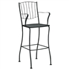 Pictured is the Aurora Stationary Arm Bar Stool from Woodard Outdoor Furniture, sold by Timeless Wrought Iron.