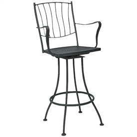 Pictured is the Aurora Swivel Arm Bar Stool from Woodard Outdoor Furniture, sold by Timeless Wrought Iron.